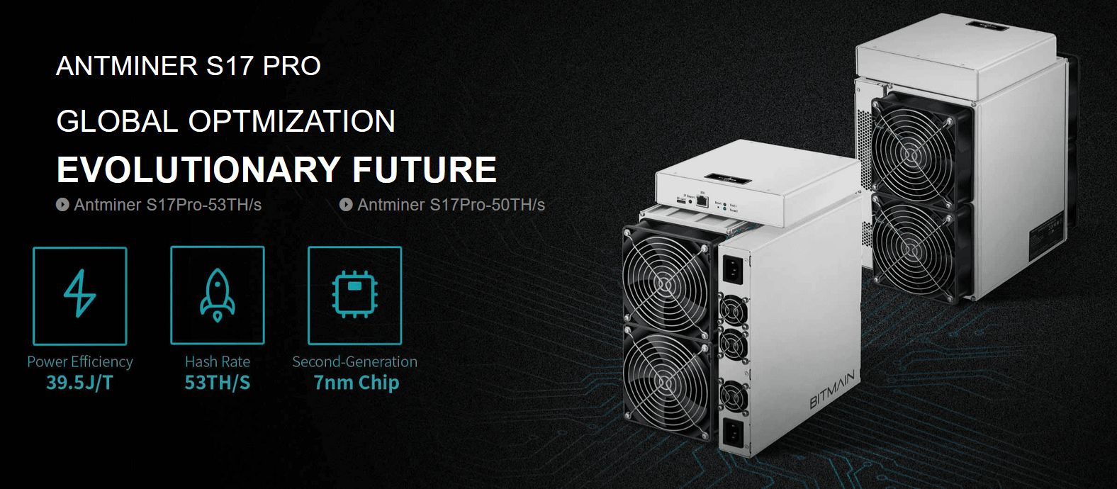 7nm Low Power Bitmain antminer S17 Pro 53Th/s 56Th/s BTC SHA256 Asic miner in stock