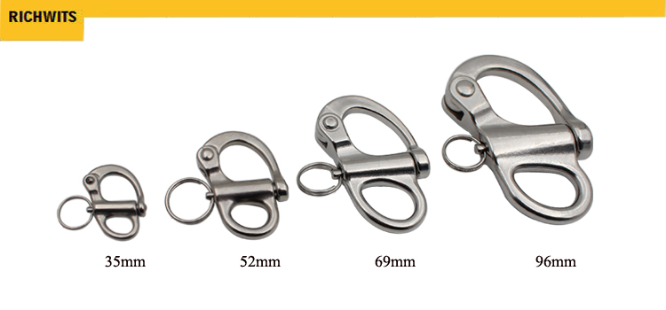 76mm  Swivel Snap Shackle 316 Stainless Steel for Sailboat Spinnaker Halyard &Diving