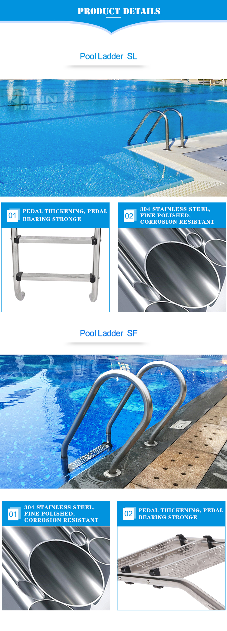 Guangzhou Fenlin Above Ground Custom 316 Stainless Steel Commercial Spa Swimming Ladder Step