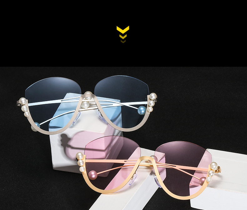 Customized Logo Luxury Semi-rimless OEM Pearl Round Women Red Sunglasses