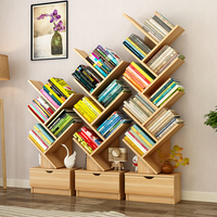 Creative Customizable color and size modern wood ladder tree shaped bookshelf