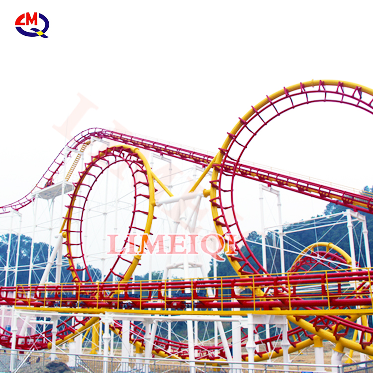 New unique design amusement park rides four loop roller coaster theme park equipment 4 loop roller coaster for sale