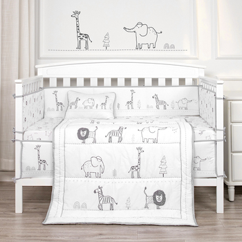 Animal Party Theme Nursing Crib Set 4 piece Bedding Soft Baby Bedding Set 100% Organic Cotton