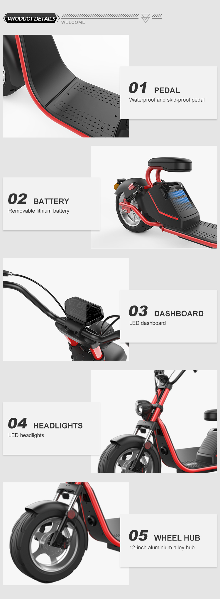 good quality cool design  EEC/COC european warehouse model HL-3.0 3000W electric scooter citycoco for adults