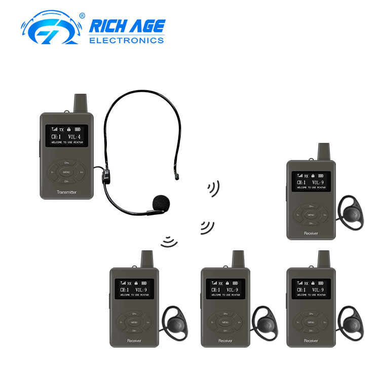 Rechargeable Digital Tour Guide System AA Battery 1 Transmitter + 1 Receiver for <strong>Communication</strong>