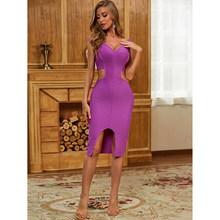 2020 женское сексуальное платье с глубоким v-образным вырезом, с вырезом лодочкой, фиолетовое облегающее Бандажное платье, летнее шикарное ве...(Китай)