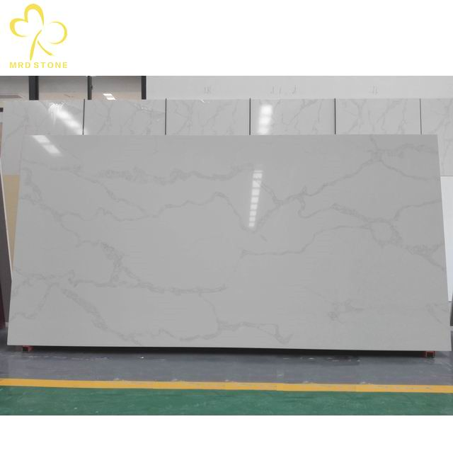 High quality polished Calacatta white V001 quartz slabs