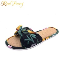 2019 Latest Design Open Toe Indoor Home Casual Flat Linen Slippers for Ladies Women