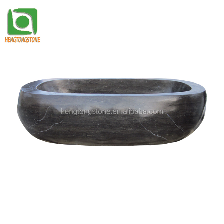 Customized Black Marble Bathtub Sculpture For Sale