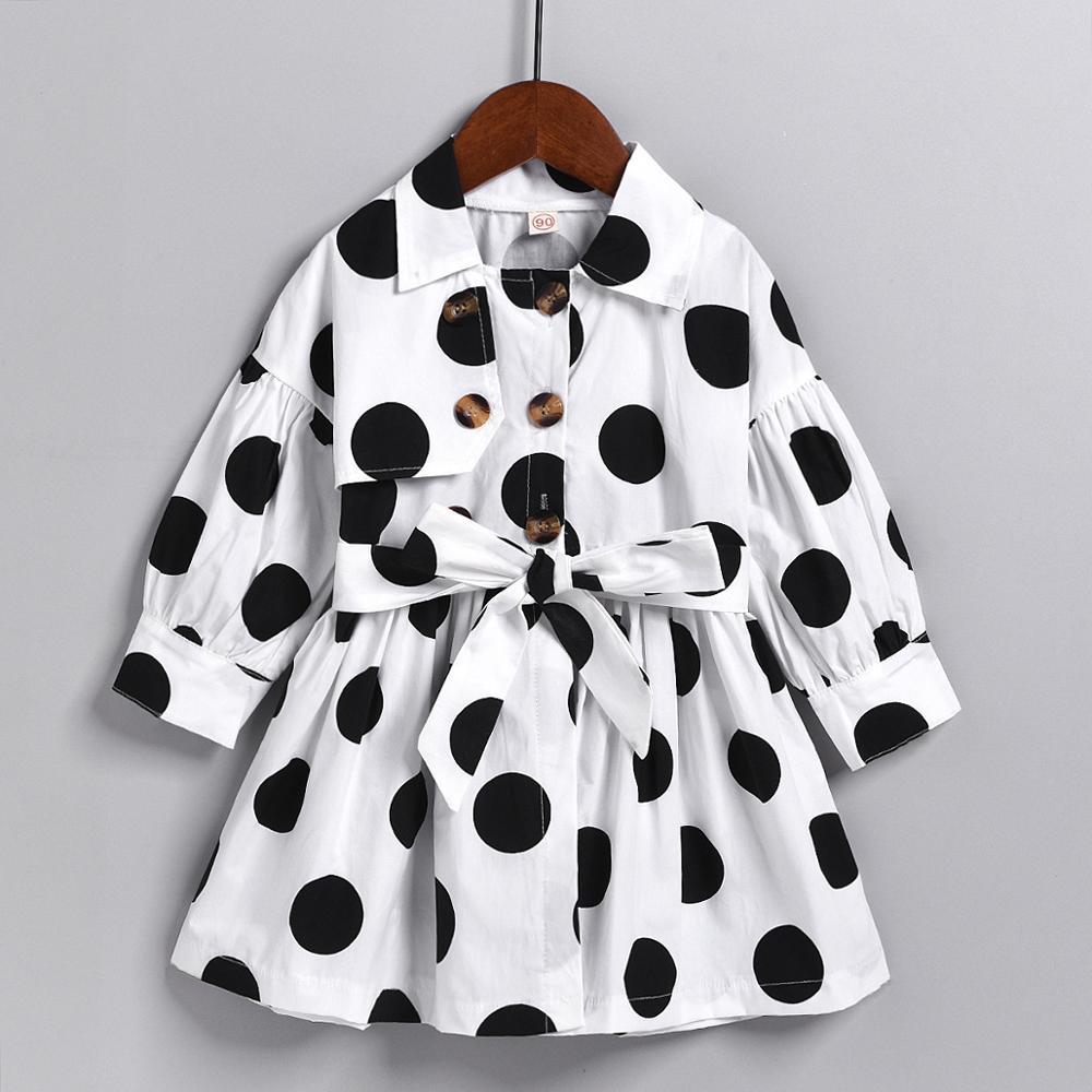 Enfants Bébé Fille Robe Automne Version Coréenne À Manches Longues À Pois Mignon Bébé Enfants Enfants Fille Princesse Manteau