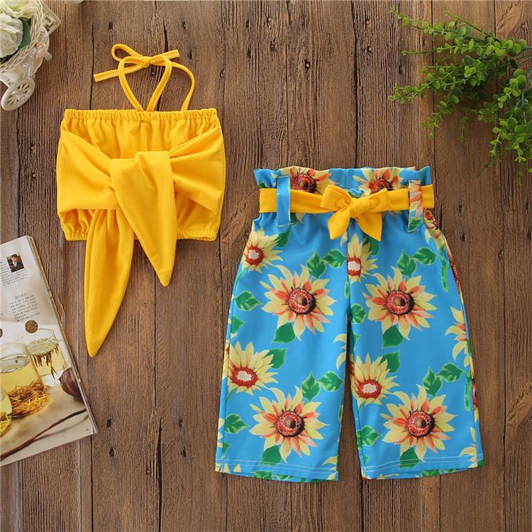 Hsg37 Caliente Verano Amarillo Tops Pantalones Cortos 2 Piezas Conjuntos De Ropa De Nina De Moda Ninos Ninas Ropa Traje De Bebe Ropa De Nina Buy Ropa De Ninas Conjuntos