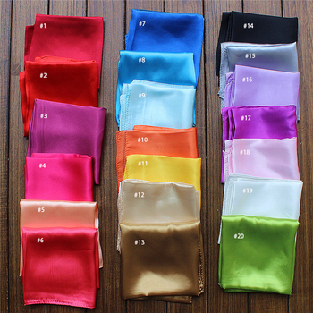 Wholesale solid color custom women stain silk scarf 55*55cm