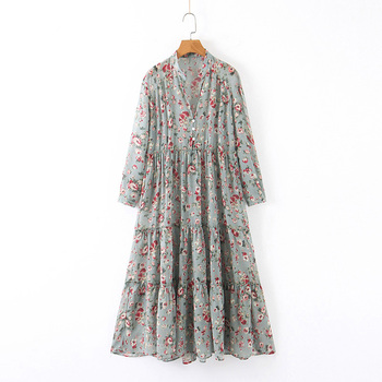 Beautiful floral printed casual dresses women autumn wholesale chiffon clothing