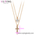 45978 xuping fashionable double chains necklace, magnet 18k gold cross pendant necklace jewelry for women