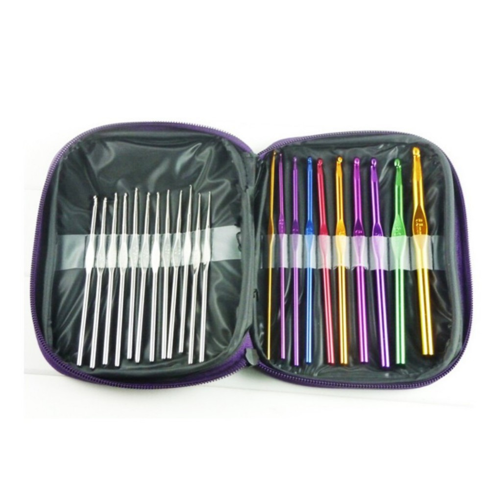 22Pcs Aluminum Crochet Hooks Needles Set Multi-colour Knit Weave Craft Yarn Sewing Tools Crochet Hooks Knitting Needles