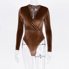 Hugcitar 2020 длинный рукав бархат v-образный вырез сексуальный боди осень зима женские вечерние уличная одежда Клубное боди(Китай)