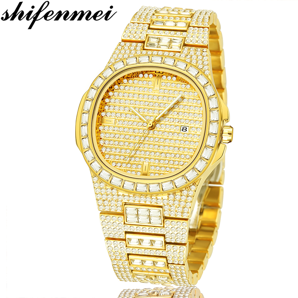 Shifenmei S1085 Top Marke Iced Diamant Quarzuhr luxus gold bling bling diamant uhr