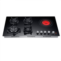 China Kitchen Gas Stove Gas Electric Combination 5 burners 4 Gas 1 Ceramic Electric Stoves.