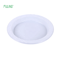 Fashionable eco frirndly big party pack white color plastic dinner plates solid disposable round plastic ps plate