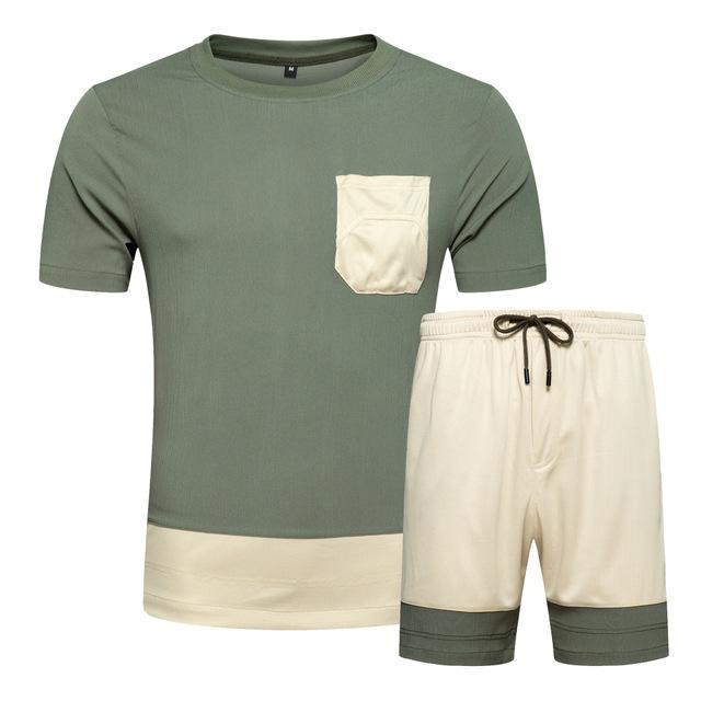 スポーツスーツ無地半袖 tシャツスポーツショーツセットカジュアル運動着夏ツーピースメンズジャージ
