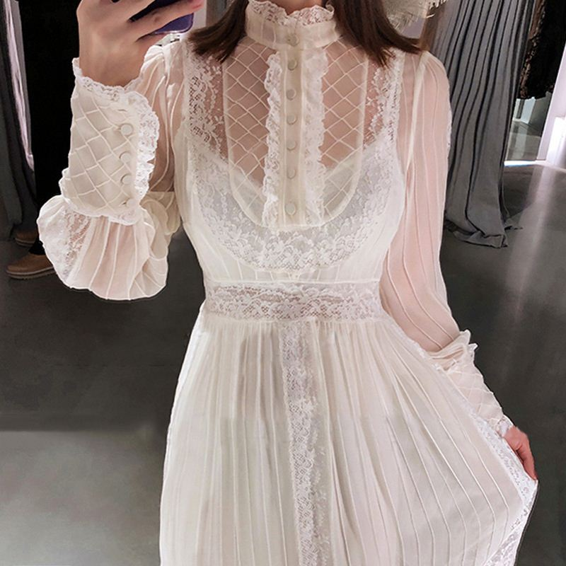 V Neck Sexy Women Dress Elegant mini long Dress Lace Hollow Out see through turtleneck Boho button Summer evening party Dress