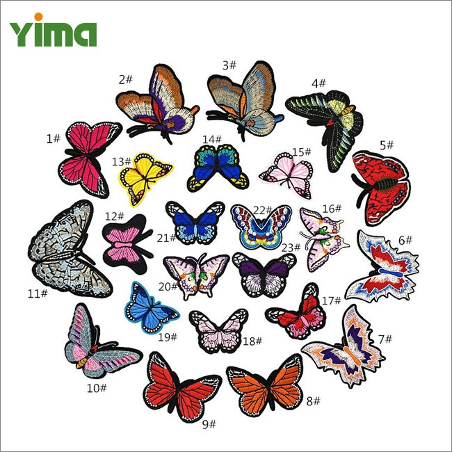 Custom wholesale cute small and large 3D organza butterfly iron on embroidery patch applique for kids clothing dress jeans