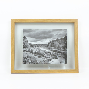 "Floating picture frame, Light wood photo frame, 11x14"" glass frame"