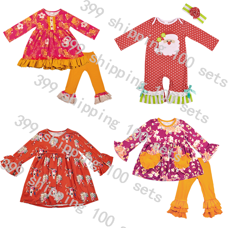 Spring colorful boutique clothes girl suit floral pattern sleeveless dress design wholesale girl suit clothes