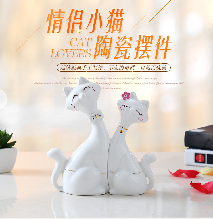 Factory direct ceramic crafts couple cat home accessories lover gift ornaments living room decoration