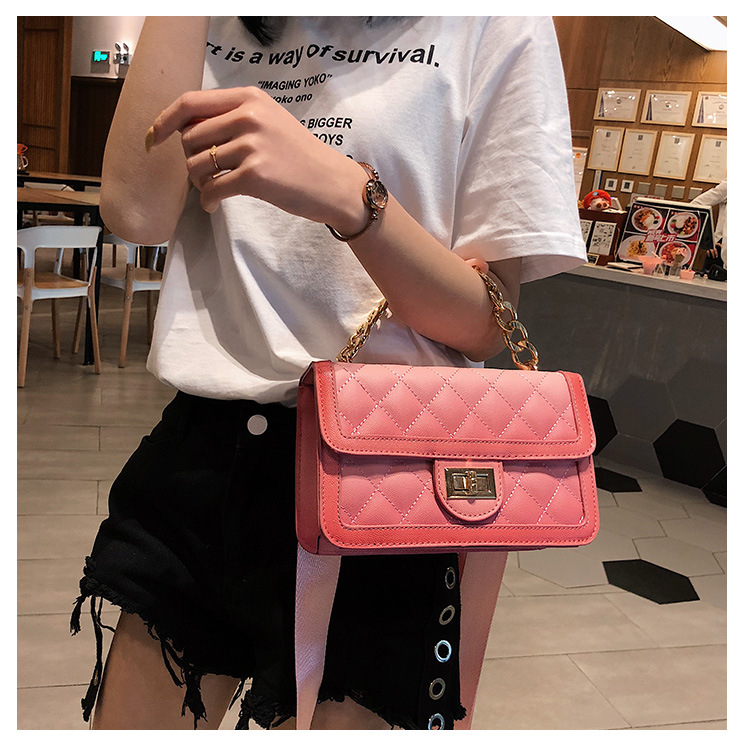 2019 ins hot newest diamond check pu leather shoulder square bag ladies handbags women