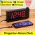 LED Mirror Alarm Clock Digital display Snooze Table Clock Wake Up Light Electronic clock projector