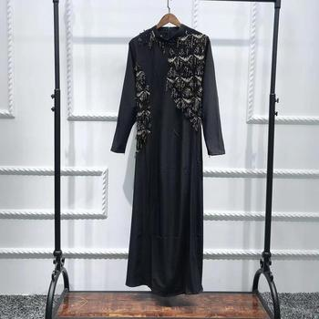 2019 New dubai muslim shinning sequins women long maxi dress abaya islamic kaftan arab jilbab gown
