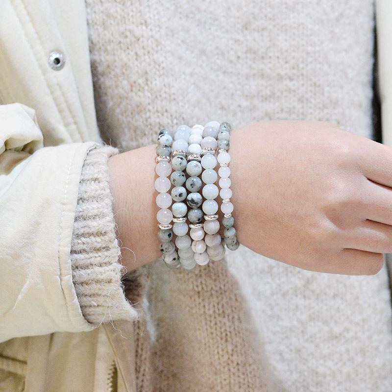 Hot Sale Moonstone  rough Woven Bracelet Amazon Natural Stone Bracelet Wholesale
