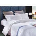 Luxury Percale White Hotel Bed Sheets for Export,t300 Solid Dyed Cotton Plain Hotel White Bed Sheets