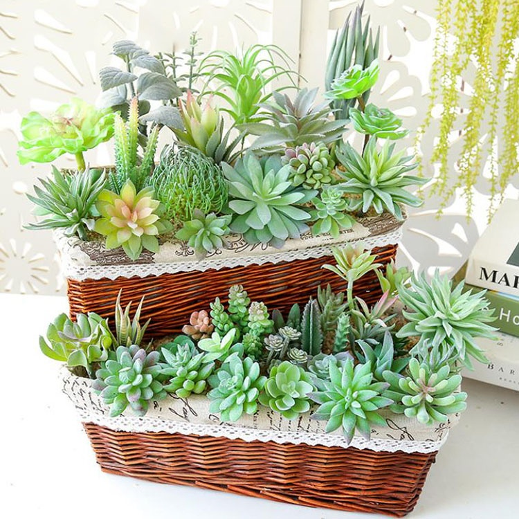 Various Wholesale Factory DIY mini Faux plants plastic plants artificial succulent for Home Decoration