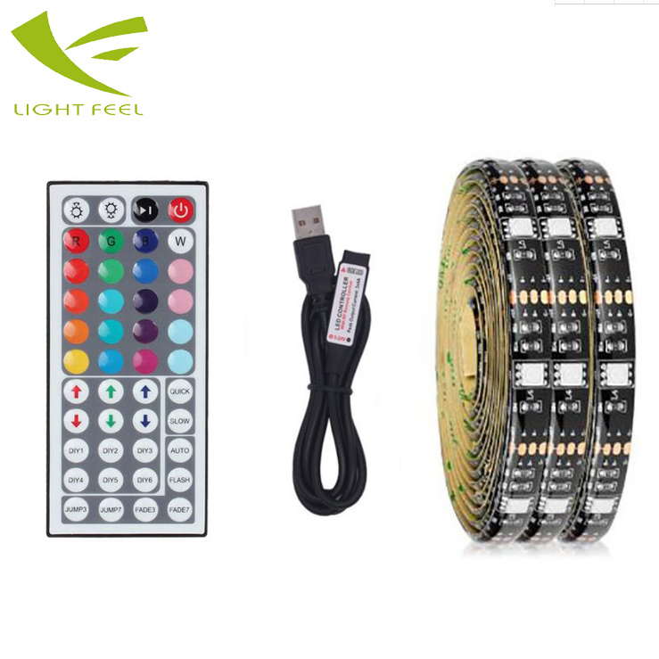Hot sale 2M RGB 5050 usb waterproof led tv strip backlight with 44 keys remote control for TV