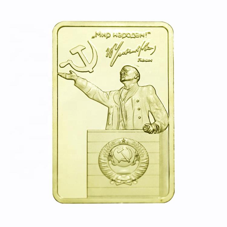 FS-Craft Lenin rus devrimi lider dikdörtgen sikke saf altın kaplama külçe barı 24k altın