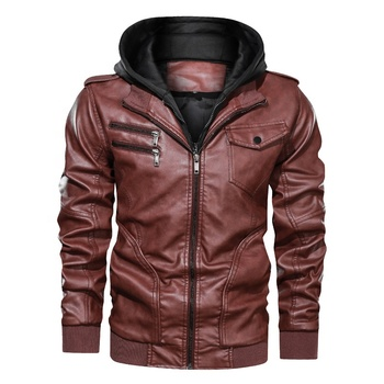 Amazon Wholesale fashion mens coat detachable leather slim jacket with hoodie