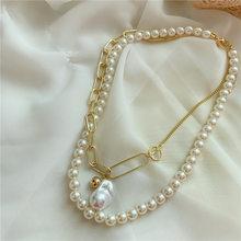 Женское многослойное ожерелье на цепочке, металлическое ожерелье из бисера, ожерелье с имитацией жемчуга в стиле хип-хоп, на день рождения, ...(Китай)