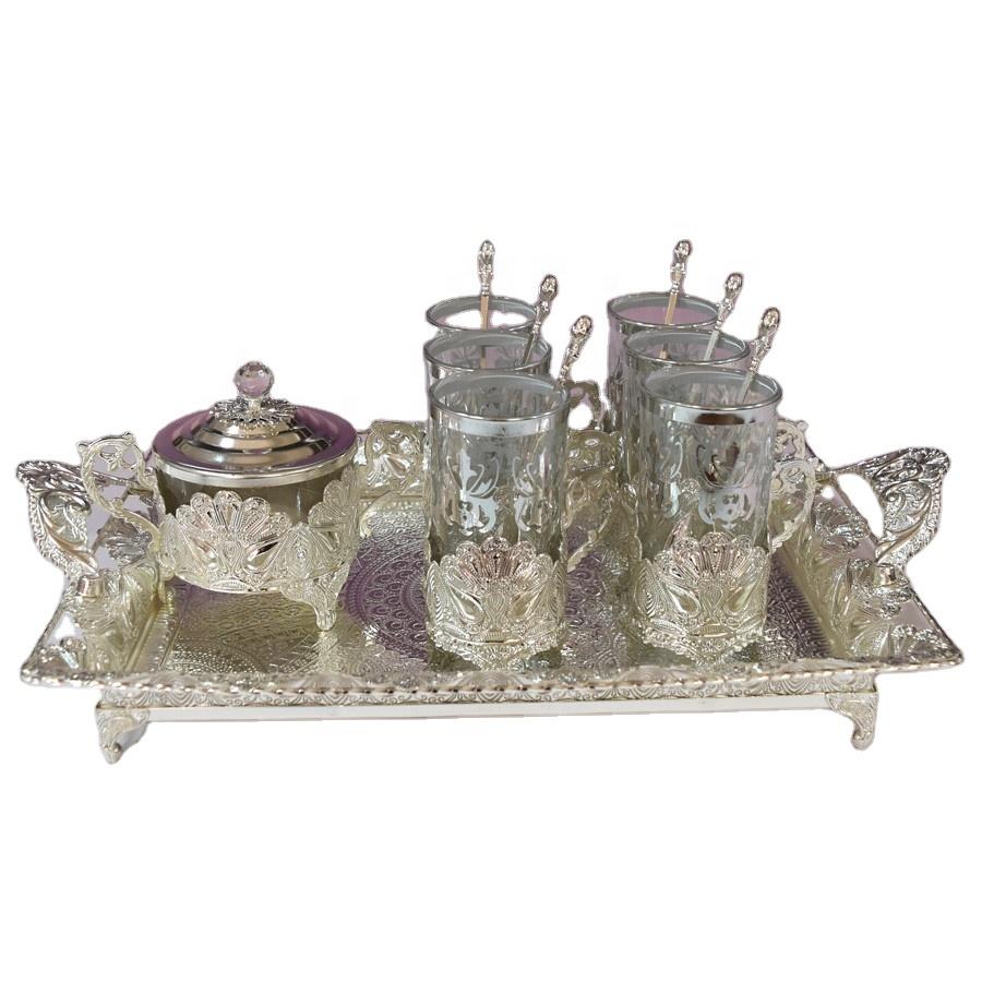 อิสลามงานแต่งงานโลหะเงินชุดถ้วยกาแฟน้ำตาลช้อนหม้อถาด