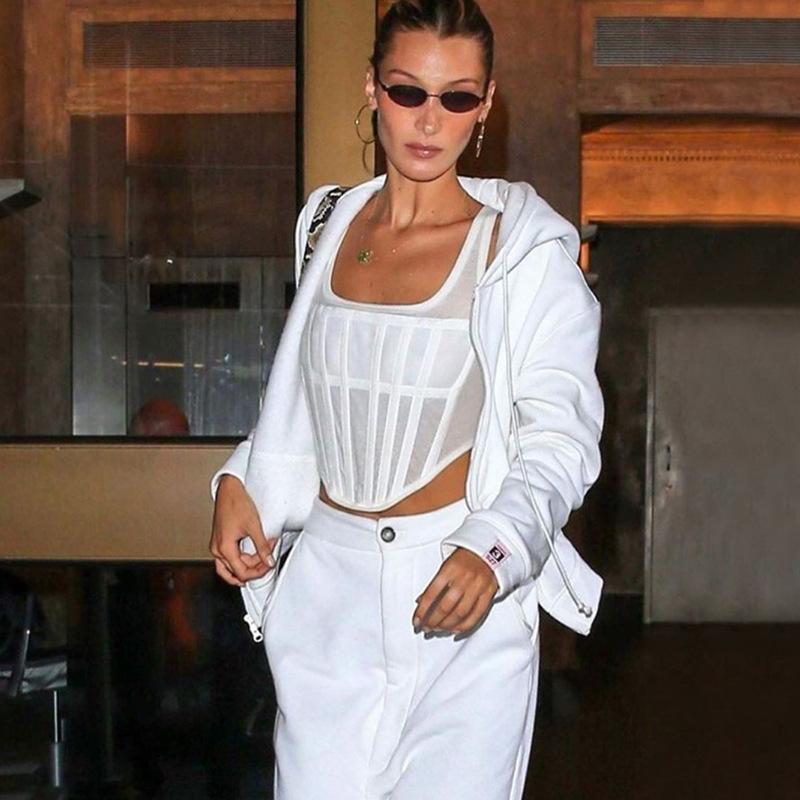 Custom Logo Casual Womens Summer Ribbed Knit Slim Fit Short White Vest Tank Top