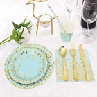 Blue and Gold Party Supplies Disposable Blue Paper Plate Dinnerware Set Baby Shower Christmas
