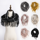 Wholesale fashion Winter tassel scarf plaid Infinity Scarf for women