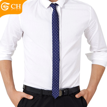 Wholesale White Dot Design Polyester 4CM Skinny Mens Neck Tie With Low MOQ