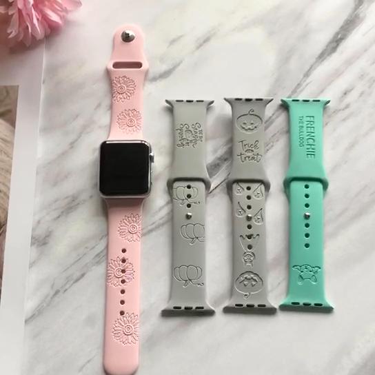 אישית מותאם אישית סיליקון בנד חקוק שעון רצועת עבור אפל שעון להקה
