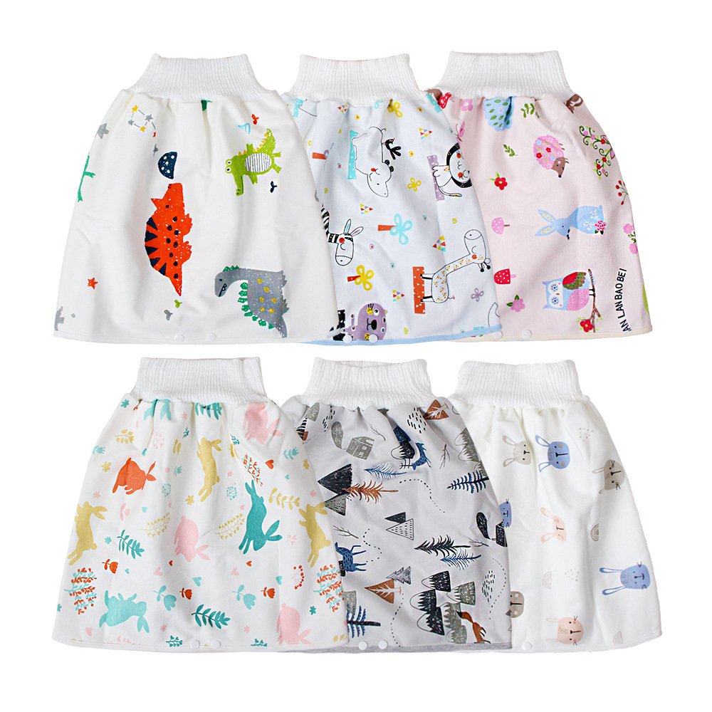 Baby cartoon toilet skirt baby pure cotton sieves anti-wetting water absorption anti-leakage Baby pants