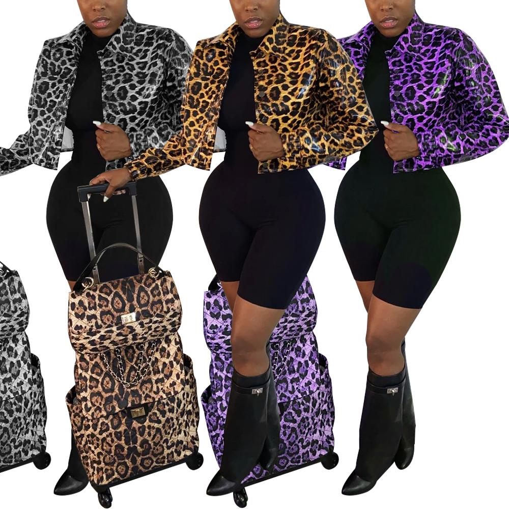 Blouson en cuir PU femme, imprimé léopard, à la mode, automne/hiver 2020