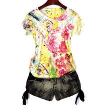 Женская футболка с принтом в Корейском стиле, 4XL, с коротким рукавом и графическим принтом, летние топы 2020, modis, синяя футболка, femme(China)
