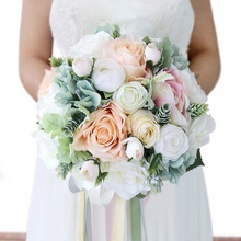 Romantic Artificial Bride Hand Flowers Wedding Artifical Silk Flowers Bouquet White Rose