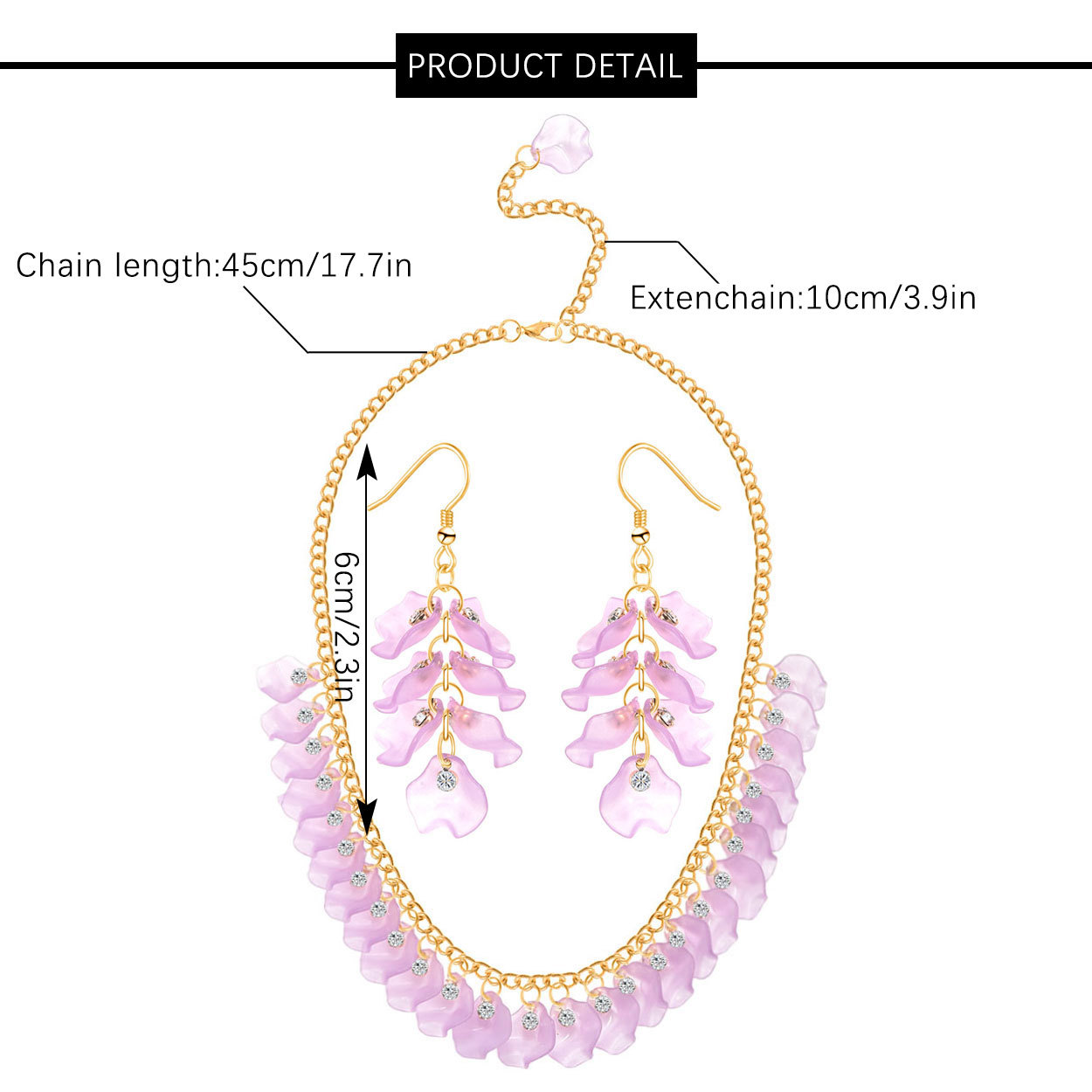 ZW020 Trade Assurance Fashion Geometrical Leaves Multicolour Acrylic Necklace Earrings Crystal Leaves 2pcs Jewelry Set